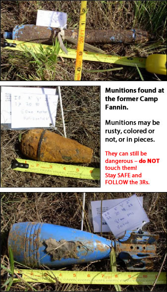 Munitions Found at the former Camp Fannin