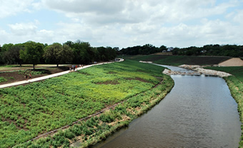 To support the native fish and wildlife the Mission Reach Project will establish 334 acres of riparian woodland and eight acres of bottomland hardwood along with the planting of 20,000 trees and native vegetation along the San Antonio River.
