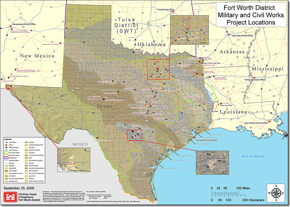 Fort Worth District > About > Civil and Military Boundaries