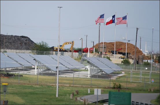 Federal agencies in Fort Worth, Texas are using innovative energy solutions like these solar energy collection panels, which was once part of the Fort Worth Federal Center, a 75-acre parcel of land with four large warehouses totaling more than 1 million square-feet. (Photo by Clayton Church, Fort Worth District)