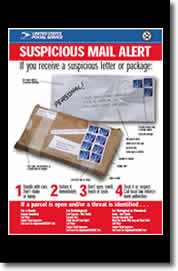 SUSPICIOUS MAIL ALERT: If you recieve a suspicious letter or package