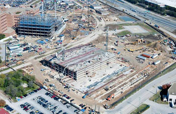 Aerial view of BRAC medical construction at Brooke Army Medical Center, Fort Sam Houston, San Antonio, Texas.